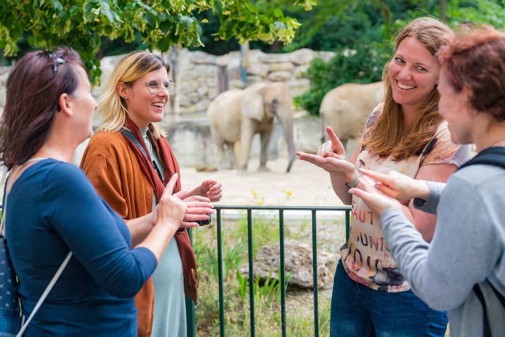 Vier Frauen lernen Gebärdensprache im Zoo